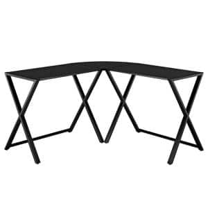 51 in. L-Shaped Black Computer Desks with Glass Top