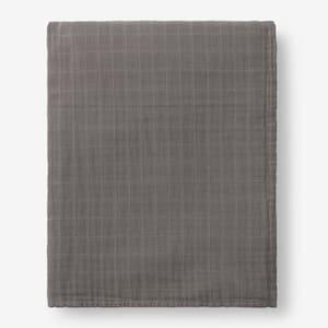 Gossamer Gray Smoke Solid Cotton King Woven Blanket