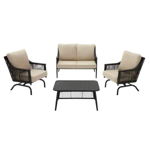 Hampton Bay Bayhurst 4 Piece Black, Black Wicker Outdoor Furniture Sets