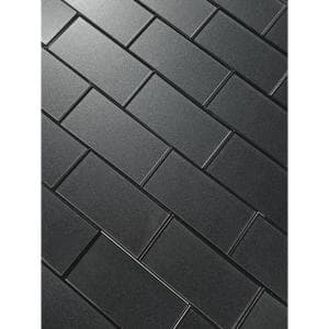 Forever Glossy Gray Metallic Look Subway 3 in. x 6 in. Glass Wall Tile (1 sq. ft.)