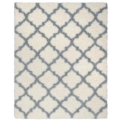 Ultimate Shag Contemporary Moroccan Trellis Design Ivory/Gray 5 ft. 3 in. x 7 ft. Area Rug