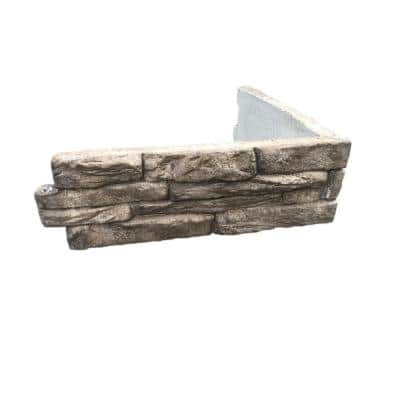 Ledge Stone 24 in. W x 8 in. H x 2 in. D Tan/Brown Concrete Raised Garden Bed, Planter Box Stones (4-Pack)