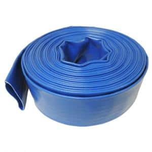 2 in. Dia x 25 ft. Blue 6 Bar Heavy-Duty Reinforced PVC Lay Flat Discharge and Backwash Hose