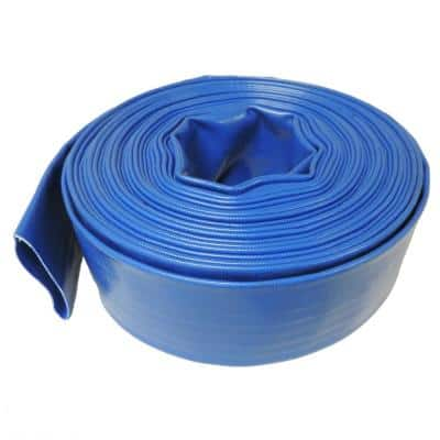 4 in. Dia x 50 ft. Blue 6 Bar Heavy-Duty Reinforced PVC Lay Flat Discharge and Backwash Hose