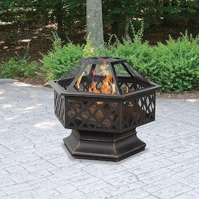 24 in. Diameter Hex Shaped Lattice Fire Pit in Oil Rubbed Bronze