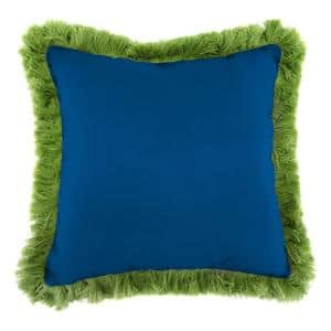 Sunbrella Canvas Navy Square Outdoor Throw Pillow with Gingko Fringe