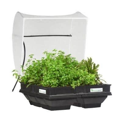 Raised Garden Bed Kit - Medium 39.4 in. x 39.4 in. (1 m x 1 m) Container with Protective Cover, Self Watering