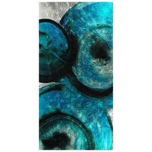 Ripple Effect Abstract Unframed Reverse Printed on Tempered Glass with Silver Leaf Wall Art 36 in. x 72 in.
