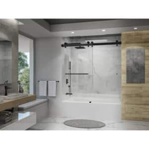 Luna 58 - 60in W x 50 1/2in H Frameless Glass Bypass Sliding Tub Door in Matte Black with Easy Clean 10 Glass Protection
