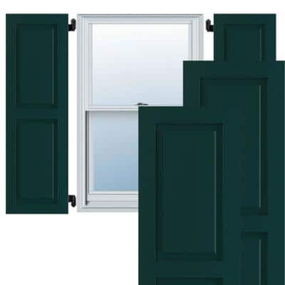 """15"""" x 49"""" True Fit PVC Two Equal Raised Panel Shutters, Thermal Green (Per Pair)"""