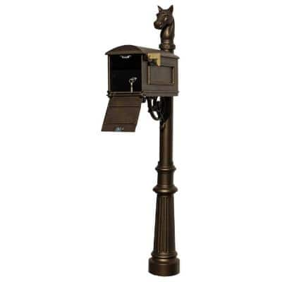 Lewiston Bronze Post Mount Locking Insert Mailbox with decorative Fluted Base and Horshead Finial
