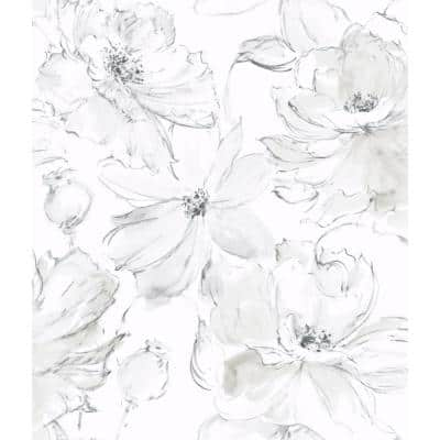 Floral Dreams Gray Paper Non-Pasted Wallpaper Roll (Covers 56 Sq. Ft.)