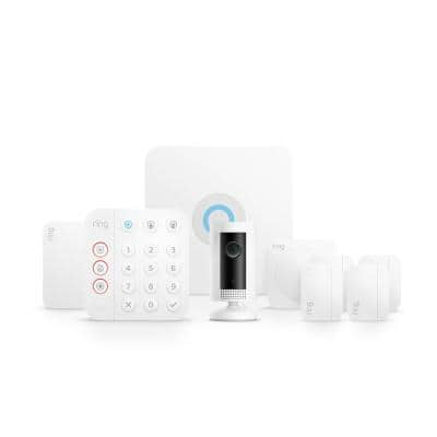 Wireless Alarm Home Security Kit (8-Piece) (2nd Gen) with Indoor Cam- White