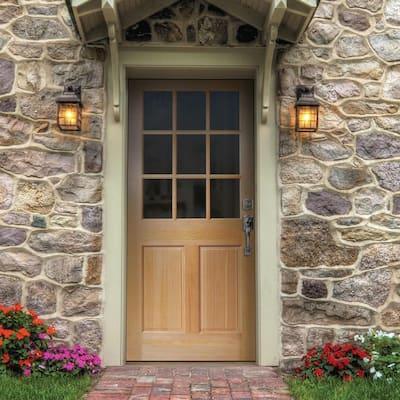 36 in. x 80 in. 9 Lite Unfinished Fir Front Exterior Door Slab