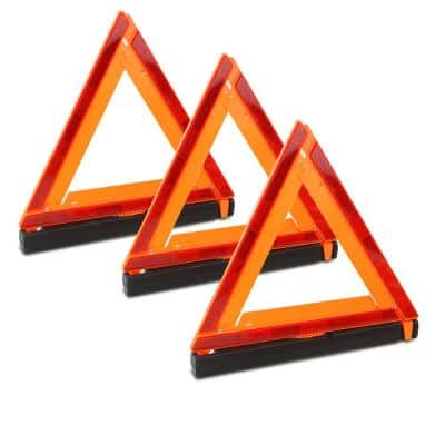 Roadside Folding Safety Triangle Reflector Warning Kit (3-Pack)