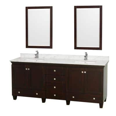 Acclaim 80 in. Double Vanity in Espresso with Marble Vanity Top in Carrara White, Square Sink and 2 Mirrors