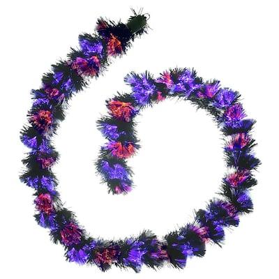 9 ft. Black Fiber Optic Garland with Purple and Orange Lights