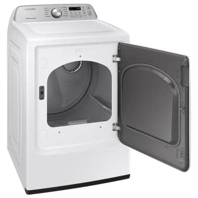 Large 7.4 cu. ft. Capacity White Electric Dryer with Sensor Dry