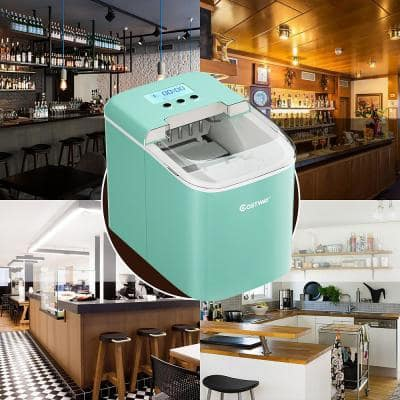 10 in. W 26 lbs./24-Hour Portable Ice Maker wit-Hour LCD Display and Ice Scoop in Green