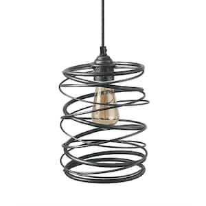 1-Light Black Geometric Pendant Modern Lantern Cage Pendant Light with Spiral Metal