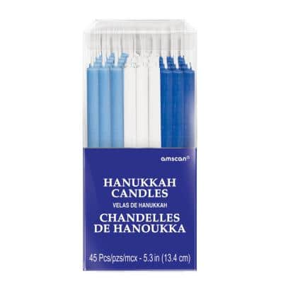 Hanukkah 5.25 in. Blue and White Candles Multi-Pack (90-Pieces)