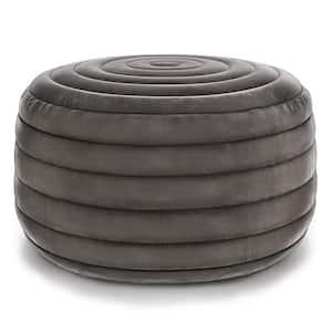 Vivienne Grey Round Pouf