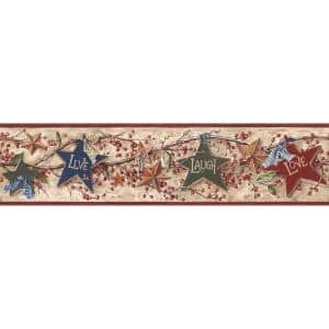 Inspired By Color Star Berry Border Tan/Burgundy Wallpaper Border