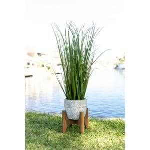 31 in. Artificial Onion Grass in 6.6 in. Cathdral Ceramic Pot on Stand