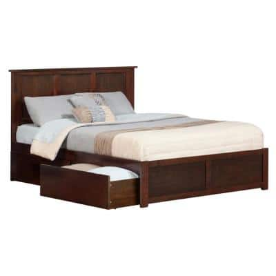 Madison Queen Platform Bed with Flat Panel Foot Board and 2-Urban Bed Drawers in Walnut