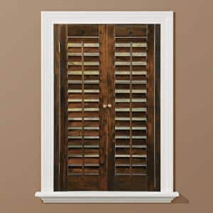 Walnut 2-1/4 in. Plantation Real Wood Interior Shutter 31 to 33 in. W x 24 in. L