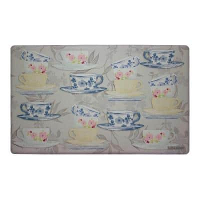 Tea Party 20 in x 32 in Anti-Fatigue Kitchen Mat