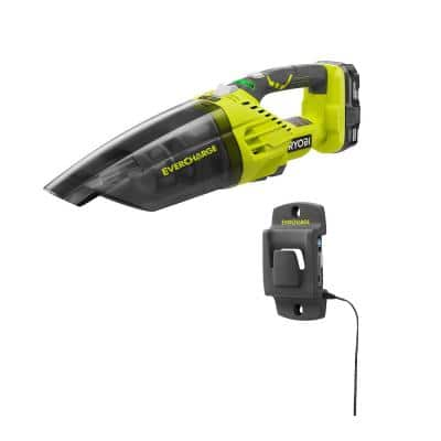 ONE+ 18V Lithium-Ion Cordless EVERCHARGE Hand Vacuum Kit with 1.3 Ah Compact Battery and Wall Adaptor/Charger