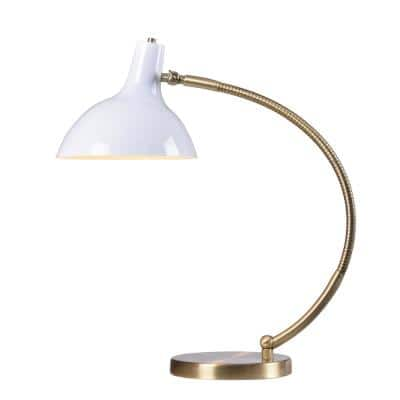 Elroy 22 in. White and Antique Brass Indoor Desk Lamp