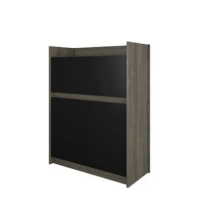 Chrono 36 in. Rectangular Bark Grey and Black Wood Secretary Desk with Drop-Down Desktop and 2-Doors