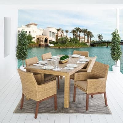 Mili 7-Piece Wicker Outdoor Dining Set with Sunbrella Maxim Beige Cushions