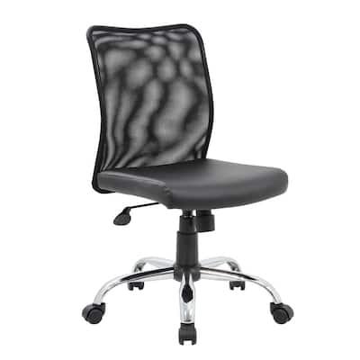 Black Mesh Back Black Vinyl Seat Armless Chrome Base Pneumatic Lift Mesh Task Chair