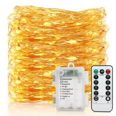 33 ft. 100 LEDs Waterproof Copper Wire Starry String Fairy Lights Battery Powered with Remote Control 8-Light Modes