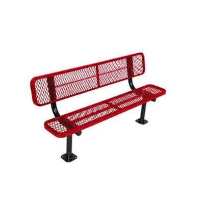 Surface Mount 6 ft. Red Diamond Commercial Park Bench with Back