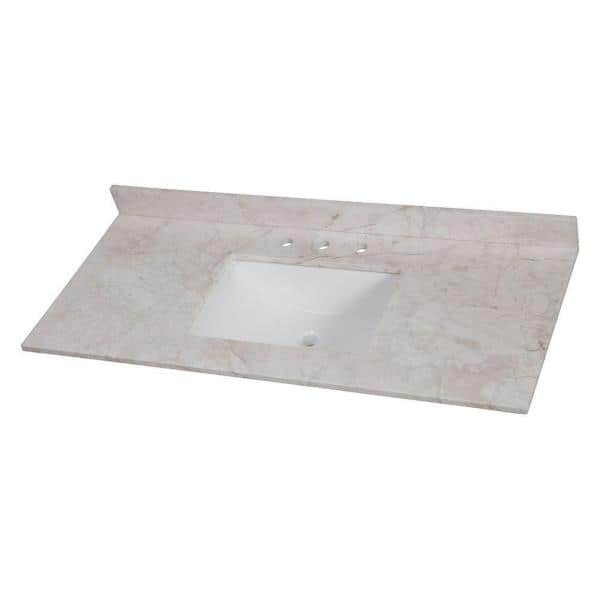 Home Decorators Collection 49 In W X 22 In D Stone Effects Single Sink Vanity Top In Dune Ser49 Dn The Home Depot