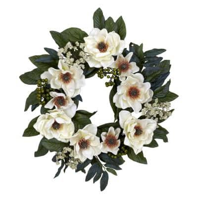 22.0 in. H White Magnolia Wreath