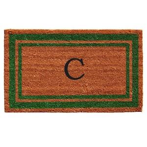 Green Border 18 in. x 30 in. Monogram C Door Mat