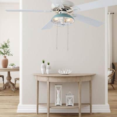 Dawn Industrial 52 in. Indoor White Ceiling Fan with Light Kit