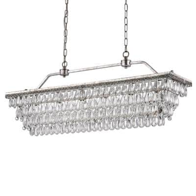 Chiara 6-Light Antique Silver Rectangular Chandelier with Crystal Hanging