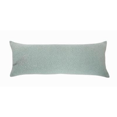 Perched Mint / Silver Bird Cozy Poly Fill 14 in.x 36 in. Lumbar Throw Pillow