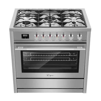 36 in. 3.9 cu. ft. Slide-In Gas Range with Convection Single Oven and 5 Burners in Stainless Steel