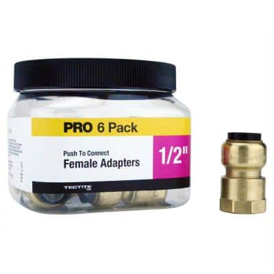 1/2 in. Brass Push-To-Connect Female Pipe Thread Adapter Pro Pack (6-Pack)