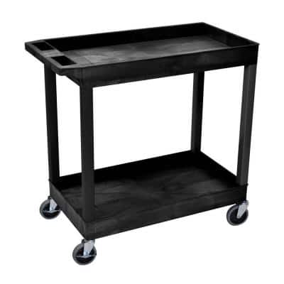 E Series 18 in. W x 35 in. L 2-Tub Shelf Utility Cart, Black