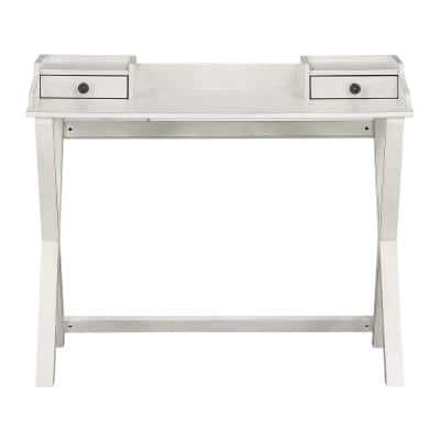 Barton 42 in. Writing Desk in White with 2-Drawers Washed Birch Wood Veneer