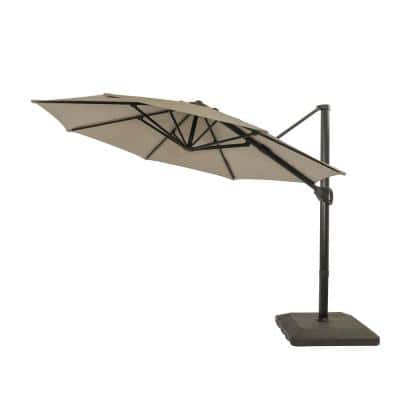11 ft. Aluminum Pole Cantilever Round Outdoor Patio Umbrella in Gray with Crank and Base