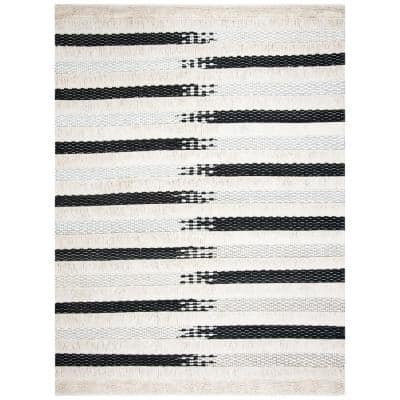Natura Ivory/Black 8 ft. x 10 ft. Distressed Striped Area Rug